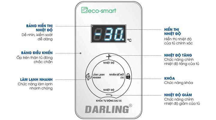 Bảng điều khiển cảm ứng của tủ đông mát Darling