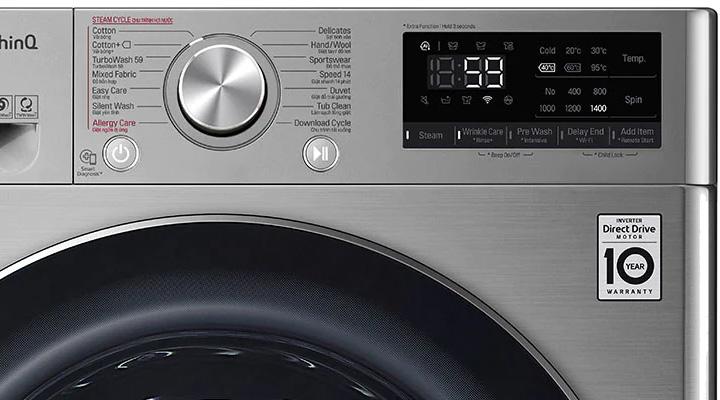 Máy giặt LG FV1450S3V có bảng điều khiển dễ sử dụng