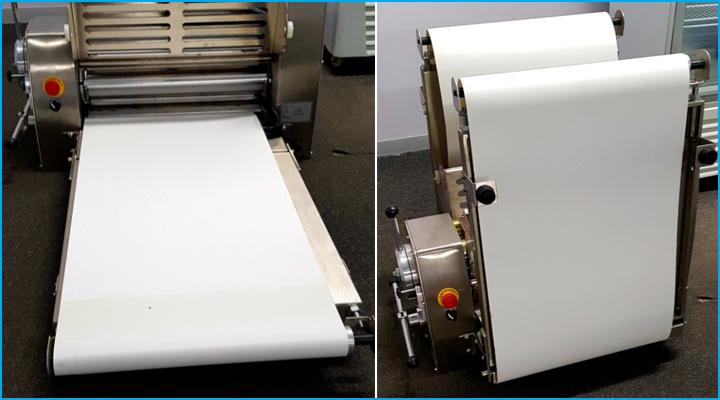 Máy cán bột DSC-520A có thiết kế băng tải rộng rãi, an toàn và có thể gập lại được
