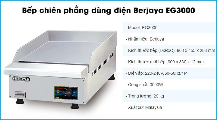 Bếp chiên phẳng dùng điện Berjaya EG3000