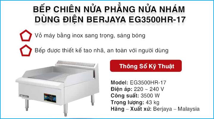 Bếp chiên nửa phẳng nửa nhám Berjaya EG3500HR-17