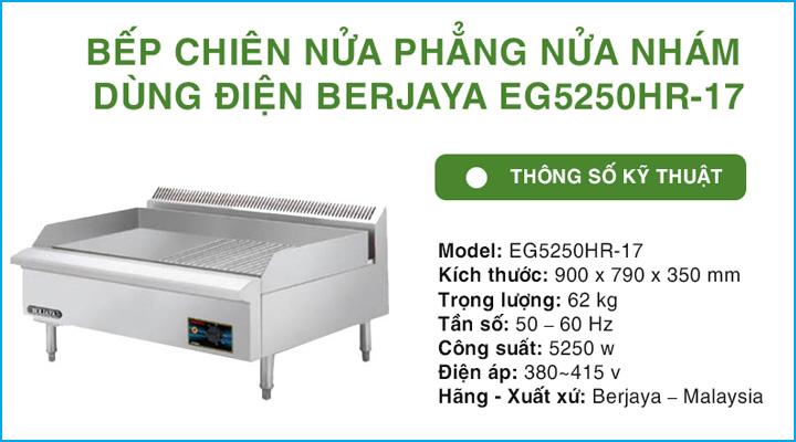 Bếp chiên nửa phẳng nửa nhám Berjaya EG5250HR-17
