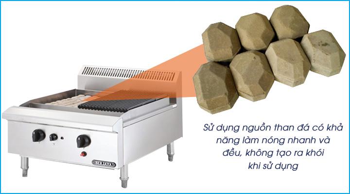Bếp sử dụng nguồn than đá nhân tạo là loại đá nham thạch có khả năng dẫn nhiệt nhanh và đều