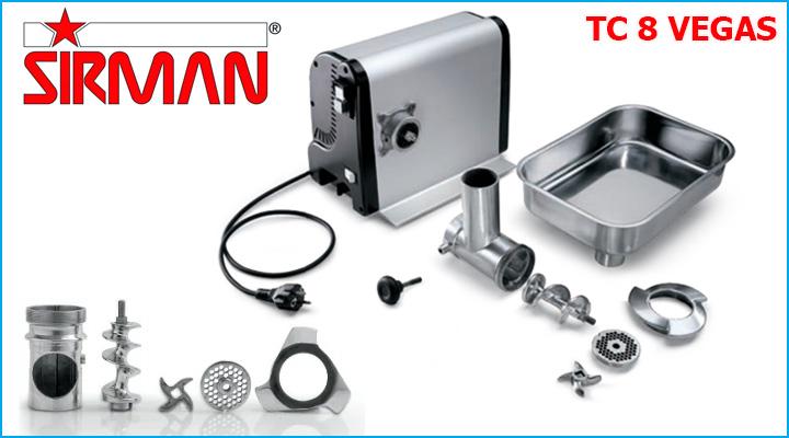 Các bộ phận của máy xay thịt Sirman TC 8 Vegas có thể tháo lắp dễ dàng