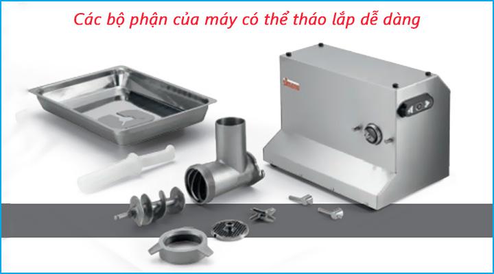 Các bộ phận của máy xay thịt Sirman Colorado có thể tháo lắp dễ dàng
