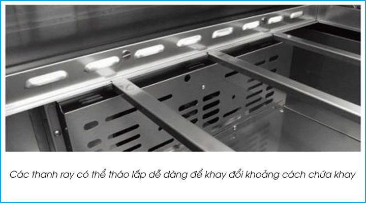 Các thanh ray của bàn mát salad Turbo Air KHR12-2 có thể tháo lắp dễ dàng