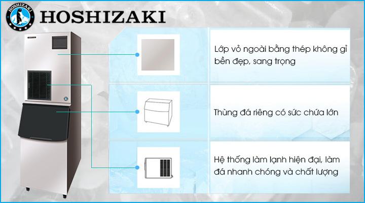 Máy làm đá viên Hoshizaki FM-300AKE-N từ chất liệu thép không gỉ, hệ thống làm lạnh nhanh sâu