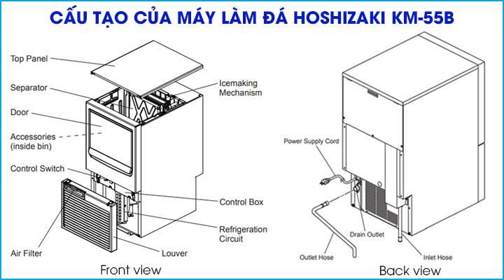 Cấu tạo chung của máy làm đá Hoshizaki KM-55B