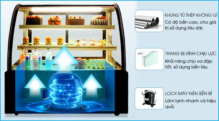 Đặc điểm về cấu tạo của tủ bánh kem