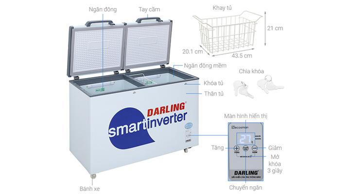 Cấu tạo của tủ đông mát Darling DMF-3699WSI-4