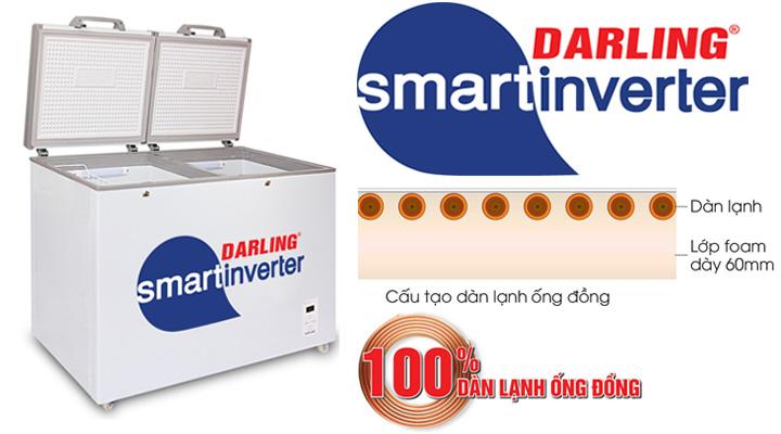 Tủ đông mát Darling Inverter DMF-4699WSI sử dụng hệ thống làm lạnh hiện đại, làm lạnh nhanh sâu và tiết kiệm điện năng