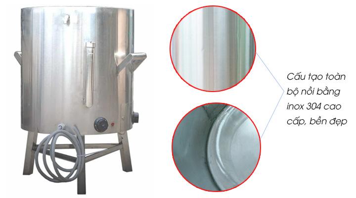 Nồi nấu cháo 50L có cấu tạo từ chất liệu inox 304 cao cấp bền đẹp