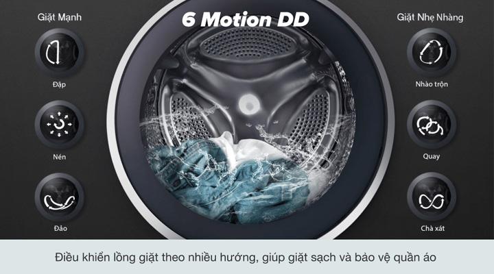 Máy giặt LG FV1450S3V sử dụng chế độ giặt 6 chuyển động DD