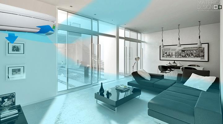 Chế độ làm lạnh và thổi gió linh hoạt phân bổ không khí đều khắp phòng