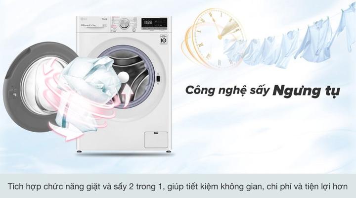 Máy giặt sấy LG FV1408G4W ứng dụng công nghệ sấy ngưng tụ cho chức năng sấy quần áo