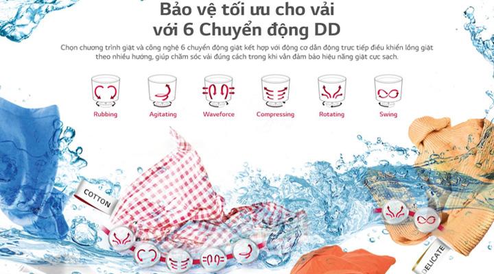 Máy giặt LG Inverter TH2112SSAV sử dụng công nghệ giặt 6 chuyển động, bảo vệ quần áo