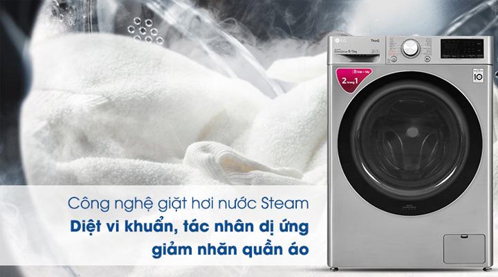 Máy giặt sấy LG FV1409G4V sử dụng công nghệ giặt hơi nước Steam