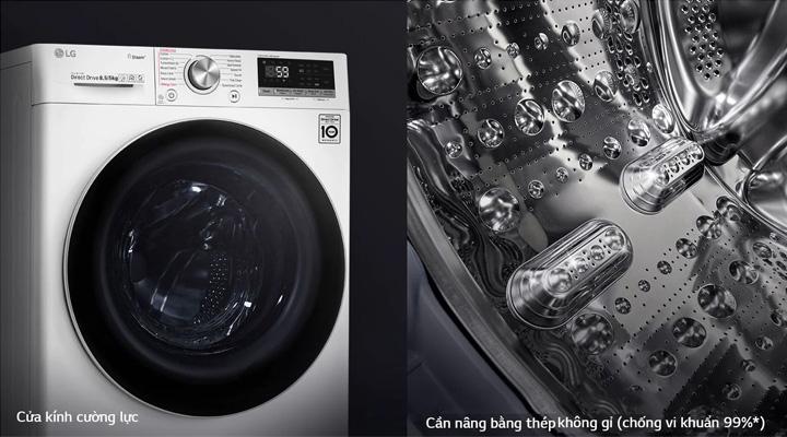 Máy giặt sấy LG FV1408G4W có cửa kính cường lực và cần nâng thép không gỉ