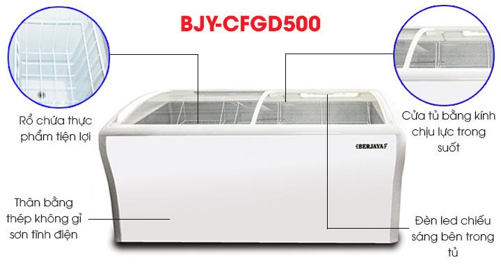 Tủ đông Berjaya BJY-CFGD500 có thiết kế đẹp mắt, sang trọng và tiện lợi