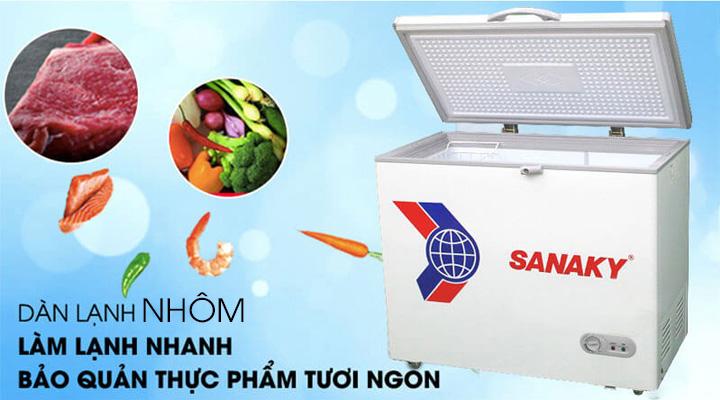 Tủ đông Sanaky VH-225HY2 có dàn lạnh bằng nhôm, giúp làm lạnh nhanh