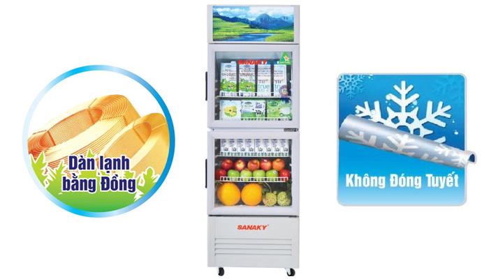 Tủ mát Sanaky VH-219WL sử dụng dàn lạnh ống đồng, làm lạnh nhanh sâu