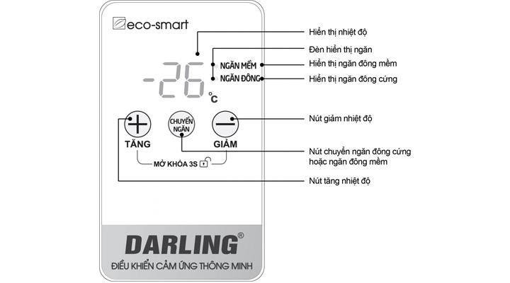 Điều khiển cảm ứng thông minh của tủ đông mát Darling DMF-3699WS-4