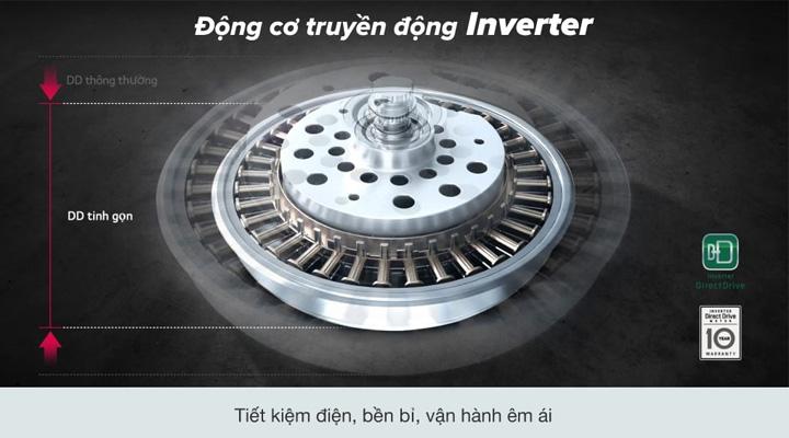 Máy giặt LG Inverter TH2112SSAV sử dụng động cơ truyền động trực tiếp Inverter