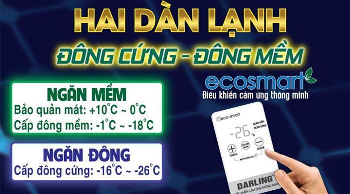 Tủ đông mát Darling DMF-3699WS-4 có 2 dàn lạnh ống đồng với 2 ngăn đông mềm và đồng cứng