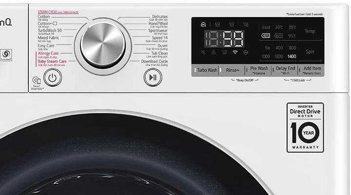 Hệ thống điều khiển của máy giặt LG FV1409S3W