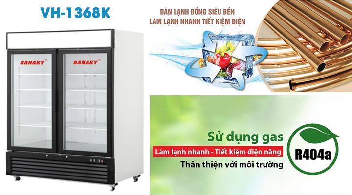 Tủ đông đứng Sanaky VH-1368K sử dụng hệ thống làm lạnh nhanh sâu