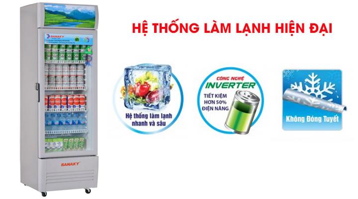 Tủ mát Sanaky VH-259K3L có hệ thống làm lạnh nhanh sâu và tiết kiệm điện năng
