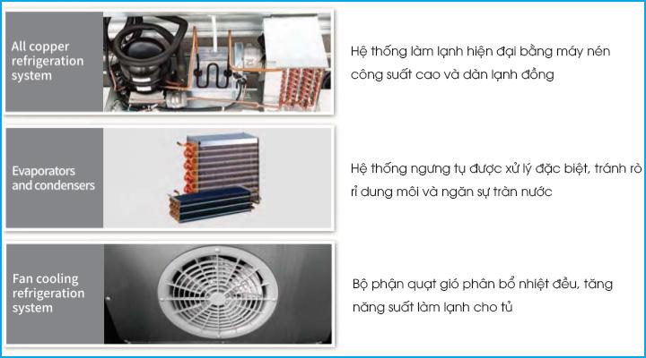 Hệ thống làm lạnh hiện đại và hiệu quả của bàn đông KUF12-2
