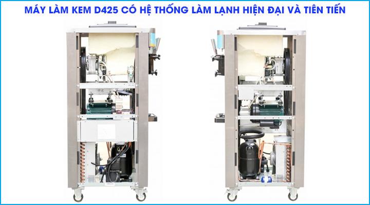 Hệ thống làm lạnh hiện đại của máy làm kem Donper D425 làm lạnh nhanh chóng và hiệu quả