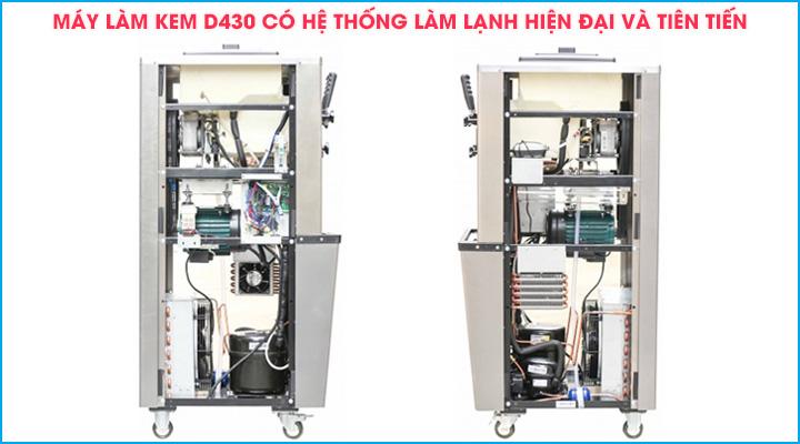 Máy làm kem tươi Donper D430 có hệ thống làm lạnh hiện đại