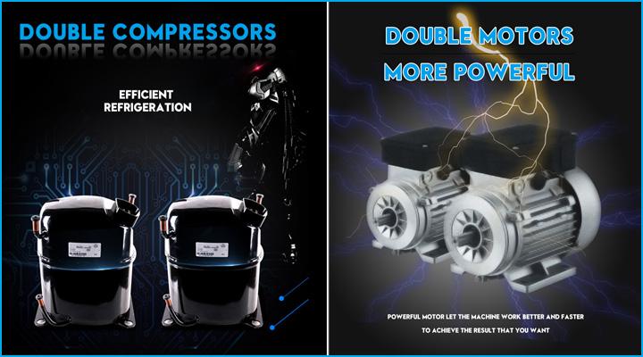 Máy làm kem tươi tươi D840A có hệ thống làm lạnh hiện đại với 2 lốc làm lạnh và 2 motor hoạt động