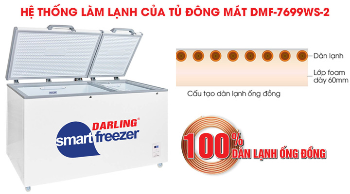 Hệ thống làm lạnh nhanh sâu của tủ đông mát Darling DMF-7699WS-2
