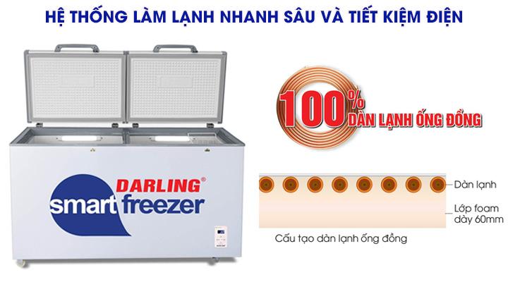 Tủ đông mát Darling DMF-3699W-2 có hệ thống làm lạnh bằng ống đồng, làm lạnh nhanh sâu