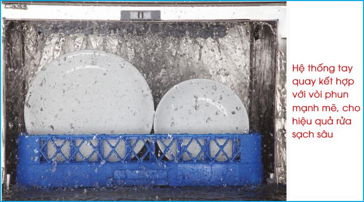 Hệ thống tay quay kết hợp với vòi phun mạnh mẽ cho khả năng rửa sạch sâu