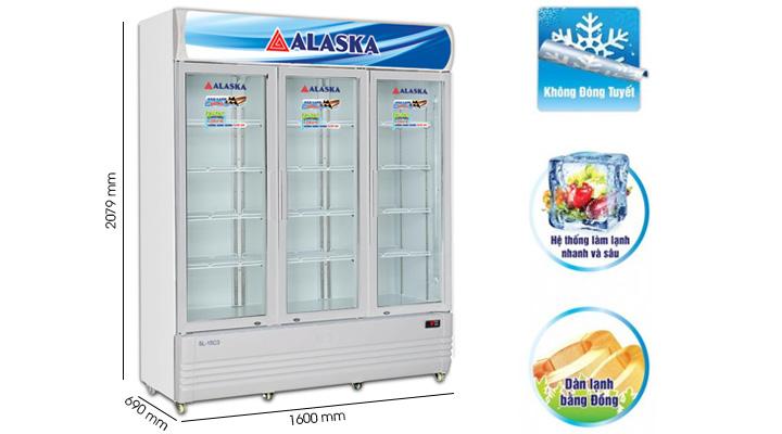 Tủ mát Alaska SL-15C3 có hệ thống làm lạnh nhanh sâu, không đóng tuyết