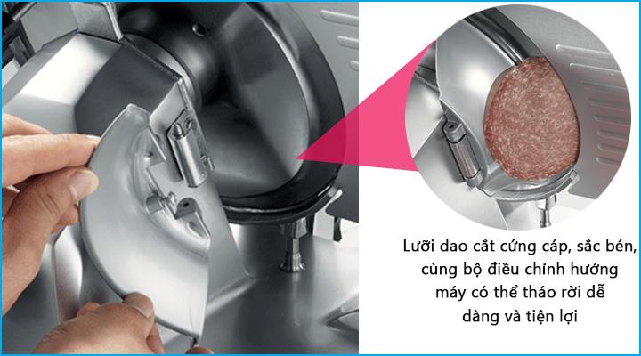 Máy cắt thịt Sirman Mirra 250C có khả năng thái lát nhanh và đều