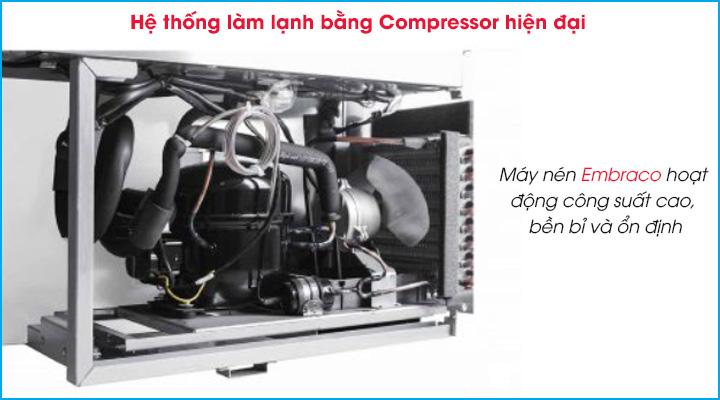 Hệ thống làm lạnh bằng Compressor hiện đại của bàn mát cánh Turbo Air