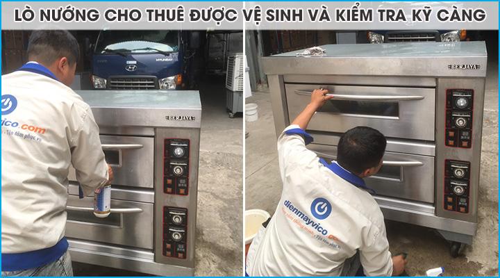 Lò nướng được vệ sinh và test kỹ càng trước khi cho thuê