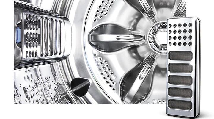 Máy giặt LG Inverter TH2722SSAK có lồng giặt và bộ lọc được làm bằng thép không gỉ