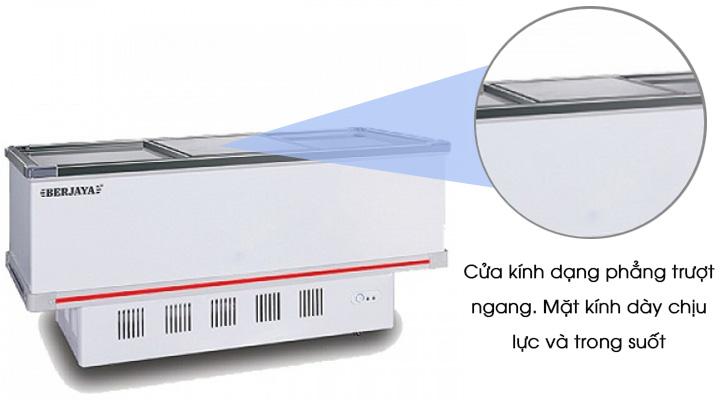 Tủ đông Berjaya BJY-IFGD718 có cửa kính phẳng, mặt kính chịu lực trong suốt