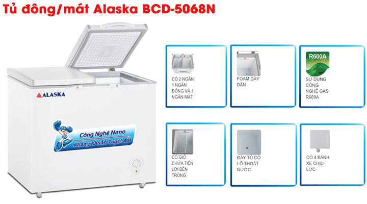 Mẫu tủ đông mát nắp dở Alaska BCN-5068N