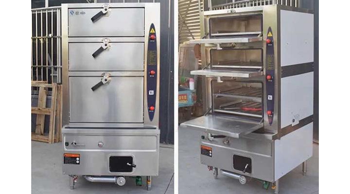 Mẫu tủ hấp 3 tầng dùng gas
