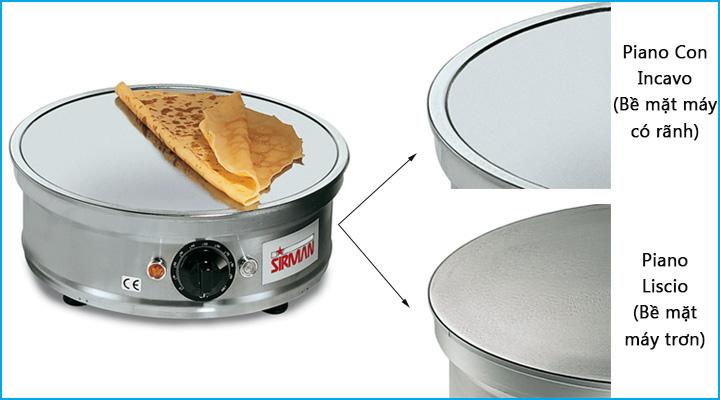 Bề mặt nấu của máy làm bánh crepe Sirman Crepes 1 nhẵn và phẳng