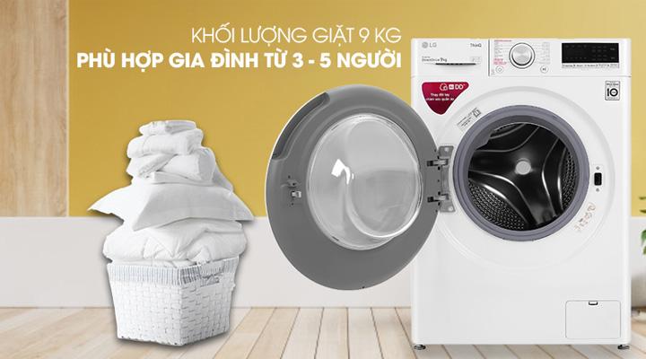 Máy giặt LG FV1409S4W có khối lượng giặt 9 kg