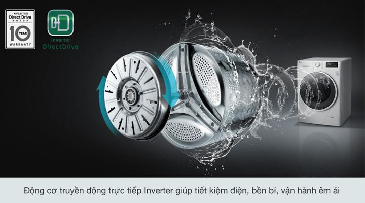 Máy giặt LG FV1409S4W sử dụng động cơ truyền động trực tiếp cho máy vận hành êm ái