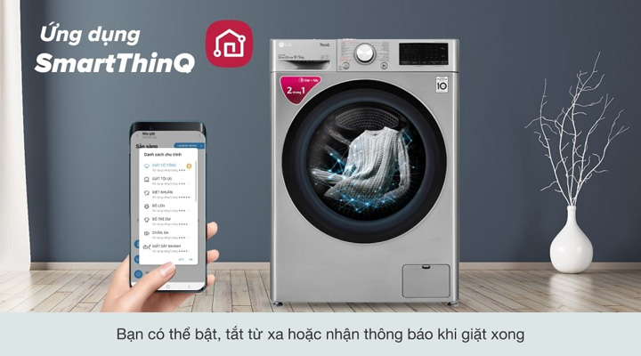 Máy giặt sấy LG FV1409G4V ứng dụng điều khiển thông minh SmartThinQ